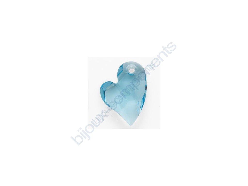 SWAROVSKI ELEMENTS přívěse - Devoted 2 U Heart, aquamarine, 17mm