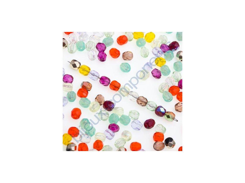 Ohňové korálky barvené, cca 4mm, mix barev