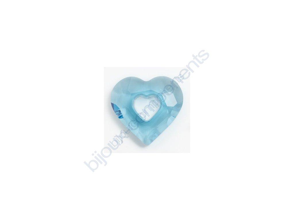 SWAROVSKI ELEMENTS přívěsek - Miss U Heart, aquamarine, 17mm
