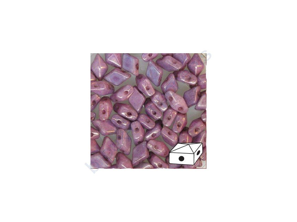 Skleněné mačkané korálky - dvoudírkové DIAMONDUO™ 5x8mm - fialové