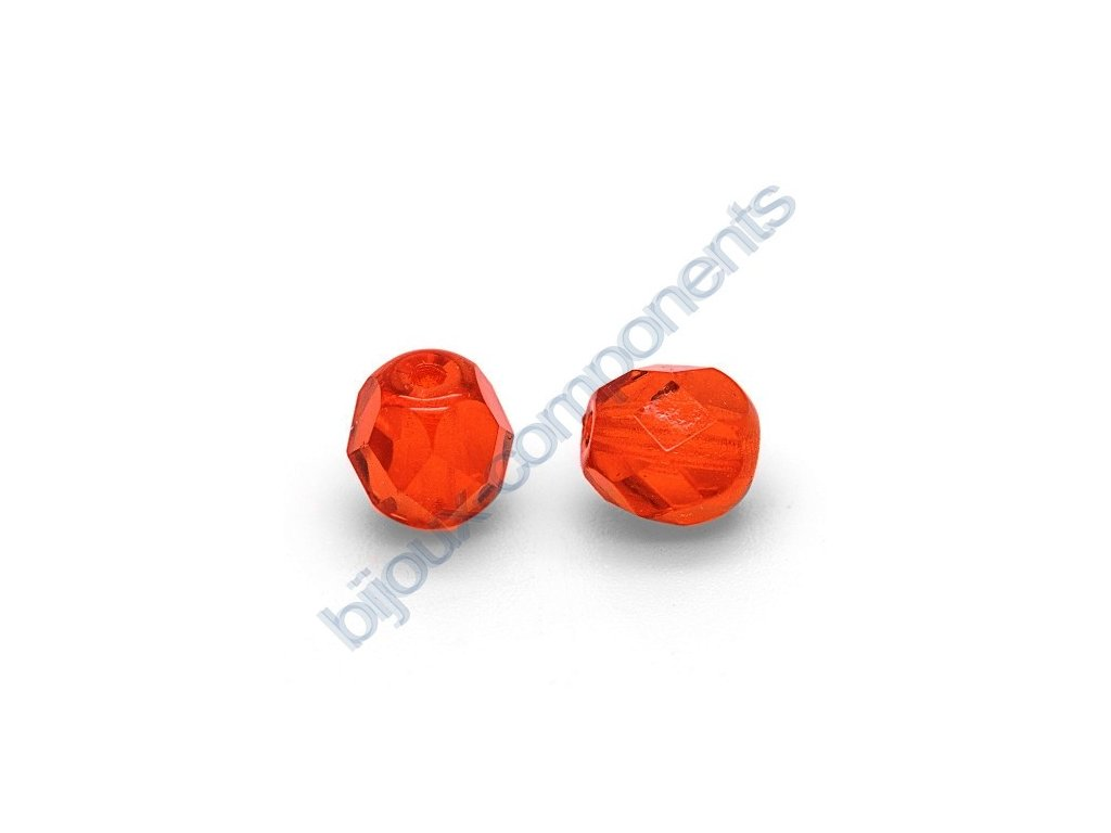 Ohňové korálky barvené, cca 4mm/ světle oranžovo-červené