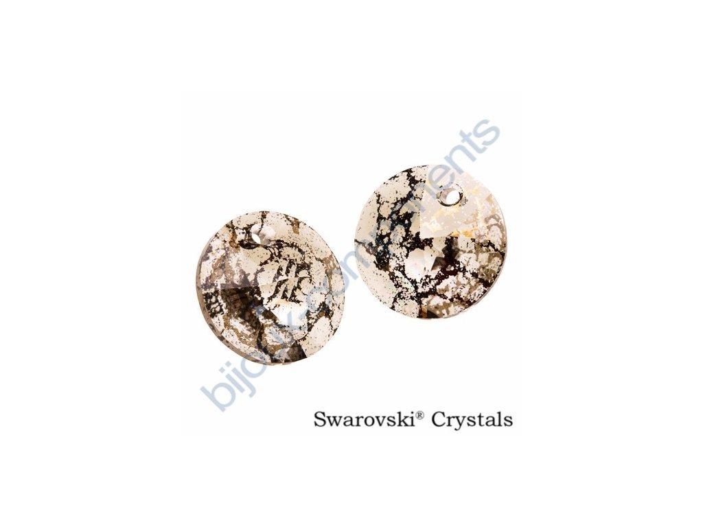 SWAROVSKI ELEMENTS přívěsek - XILION, crystal gold patina, 12mm