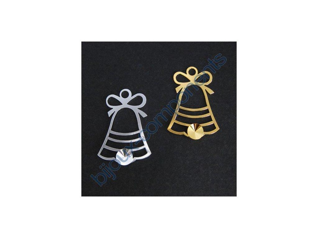 Vánoční ozdoba, zvonek s 1 kotlíkem na rivoli 8mm, cca 38x26mm