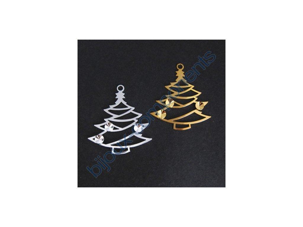 Vánoční ozdoba, stromek se 3 kotlíky na rivoli 6mm, cca 48x42mm
