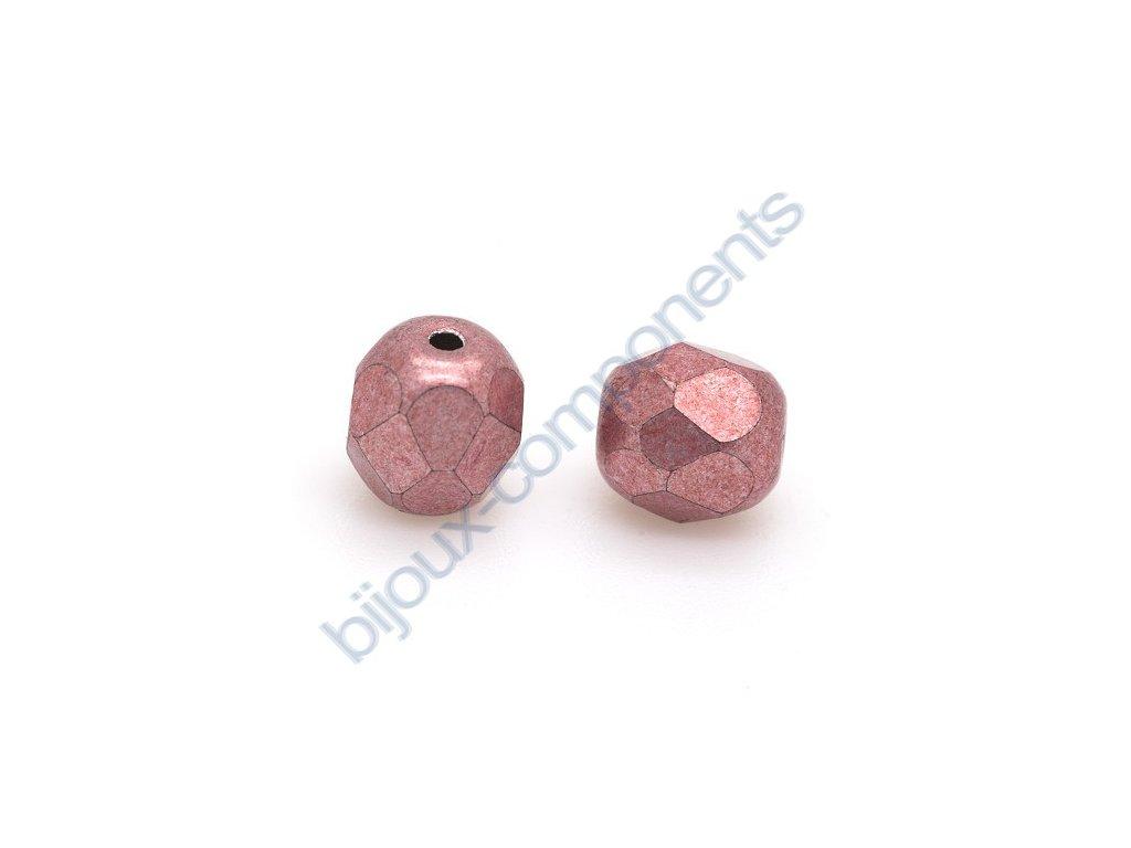 Ohňové korálky barvené - metalické, cca 6mm/ světle staro-růžové