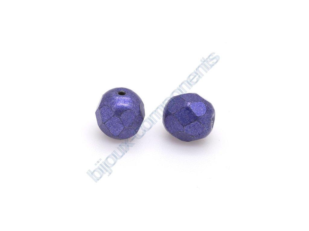 Ohňové korálky barvené - metalické, cca 6mm/ tmavě fialové