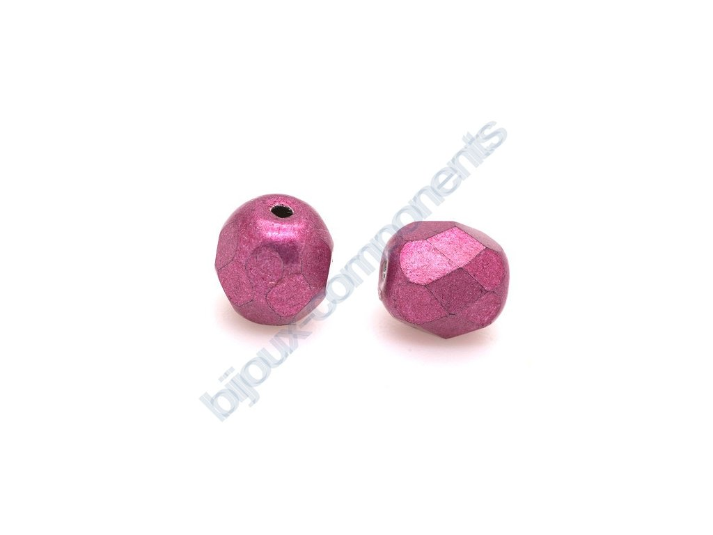 Ohňové korálky barvené - metalické, cca 4mm/ růžové