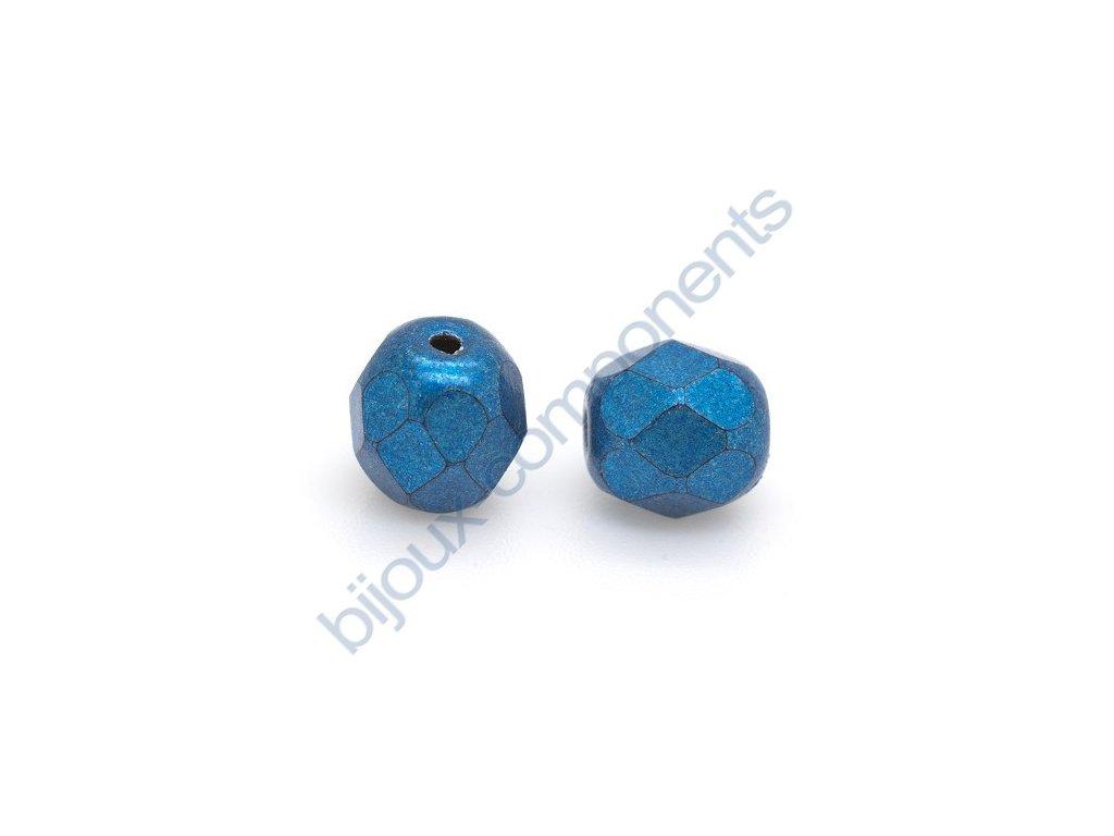 Ohňové korálky barvené - metalické, cca 4mm/ tmavě modré