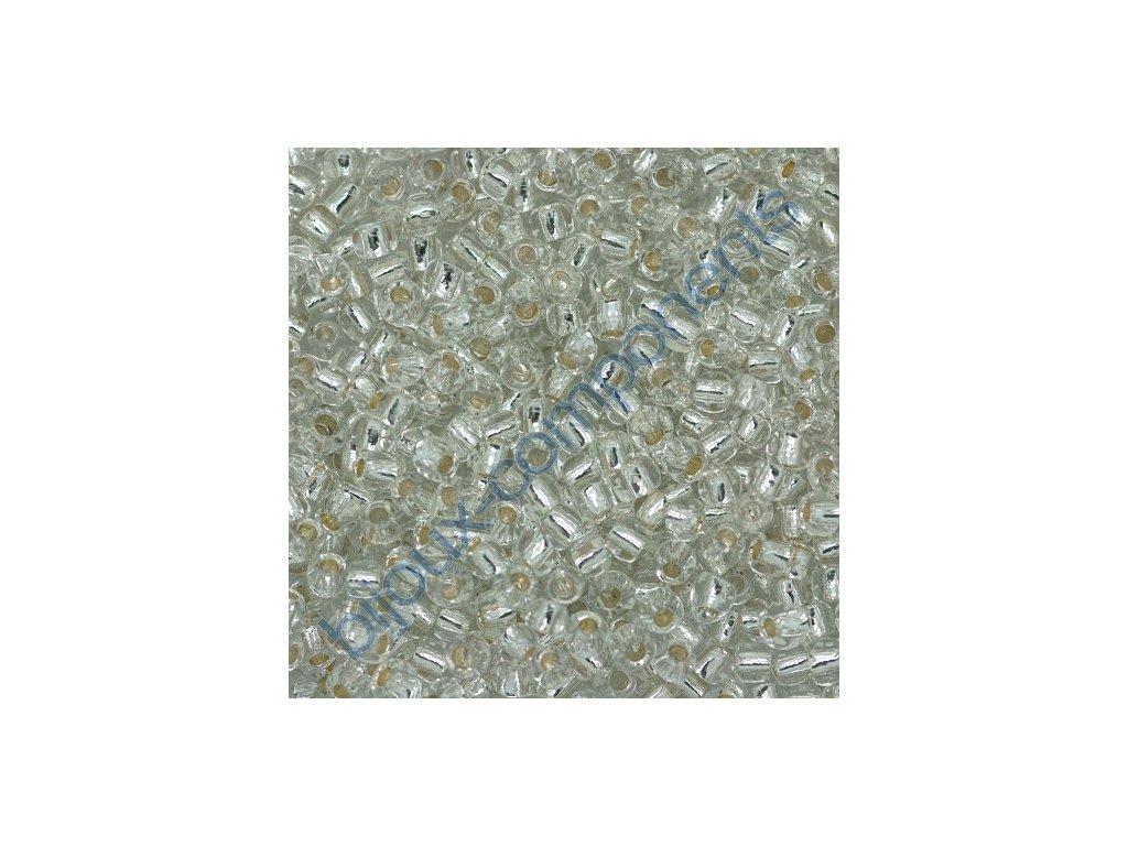 TOHO rokajl, Silver-Lined Crystal, vel.1,5 mm, průtah 0,5 mm