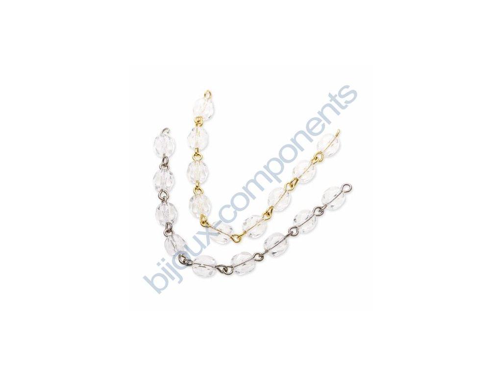 Ručně ketlovaný řetěz z českých ohňových perlí cca 6mm, crystal, cca 1cm=1perle