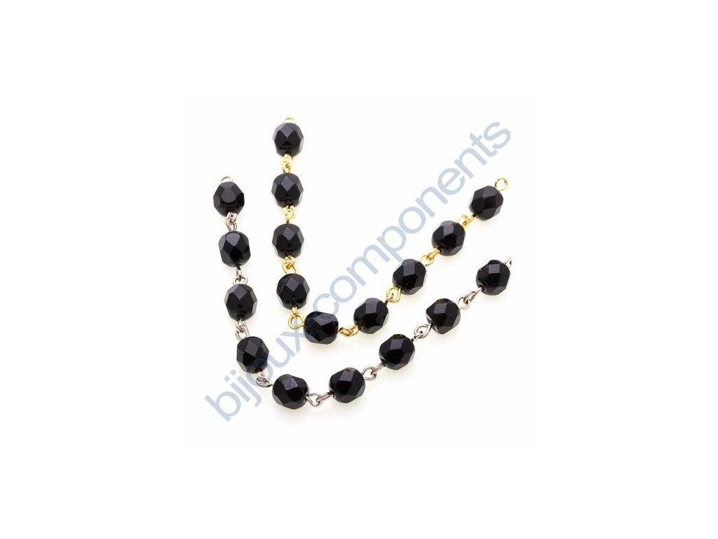 Ručně ketlovaný řetěz z českých ohňových perlí cca 6mm, černá, cca 1cm=1perle