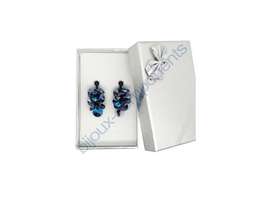 Dárková sada s kameny Swarovski Crystals, Xilion 6428, crystal bermuda blue / černý zinek