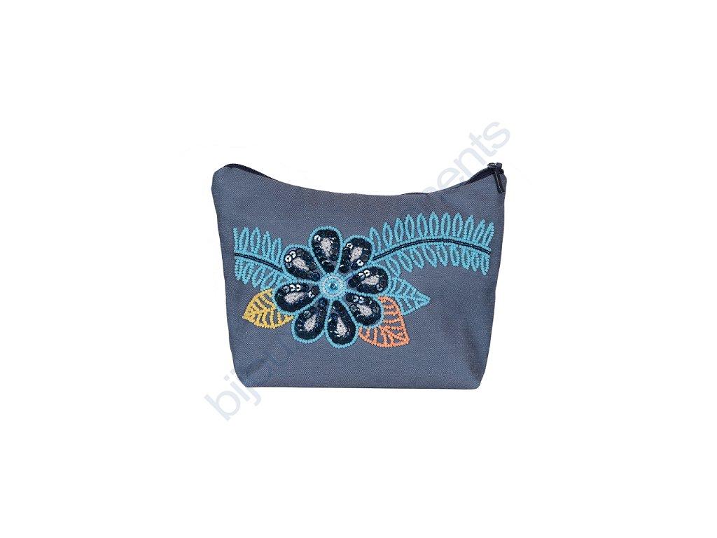 Kosmetická taška s modrou kytkou - vyšívací sada