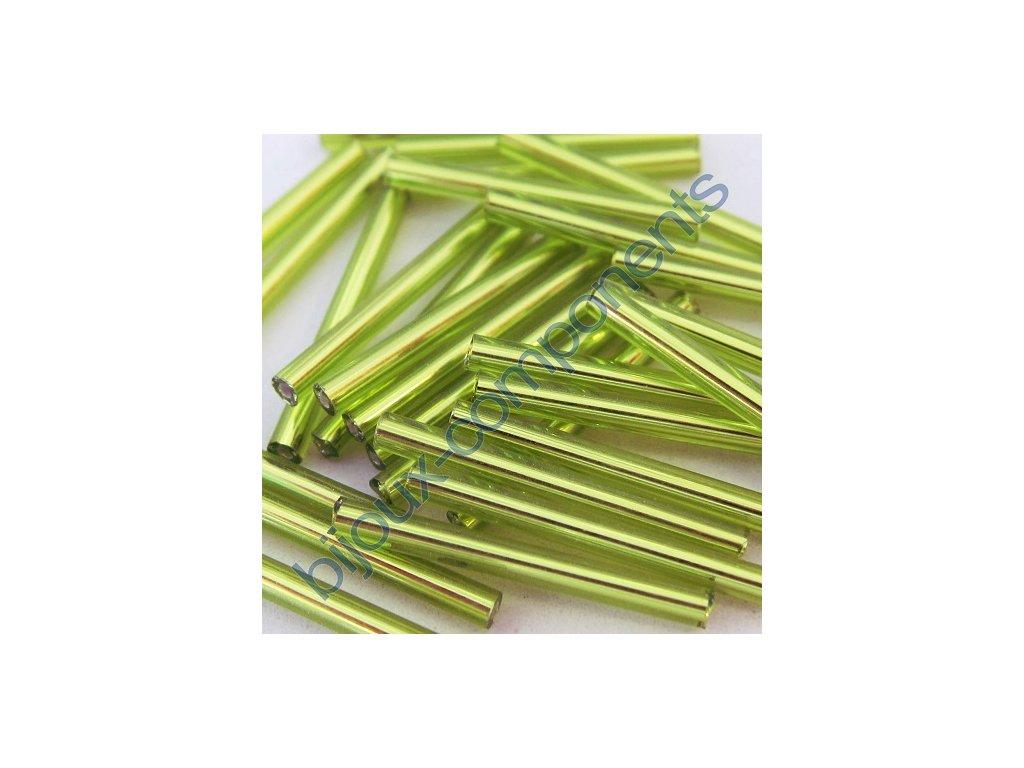 Skleněné tyčinky hladké - světle zelené, cca 25mm