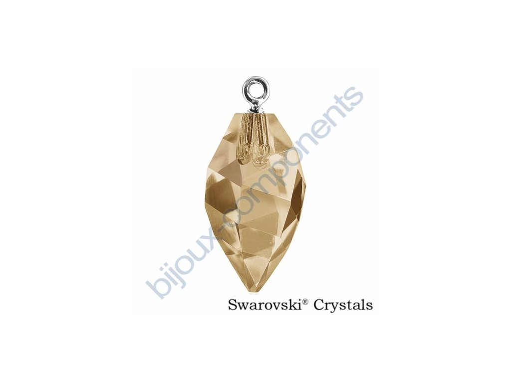 SWAROVSKI CRYSTALS přívěsek - Twisted Drop s očkem - rhodium, crystal golden shadow, 14,5mm