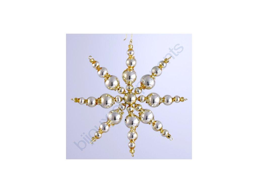 Rukodělná stavebnice - vánoční hvězda zlatá, cca 11x11 cm