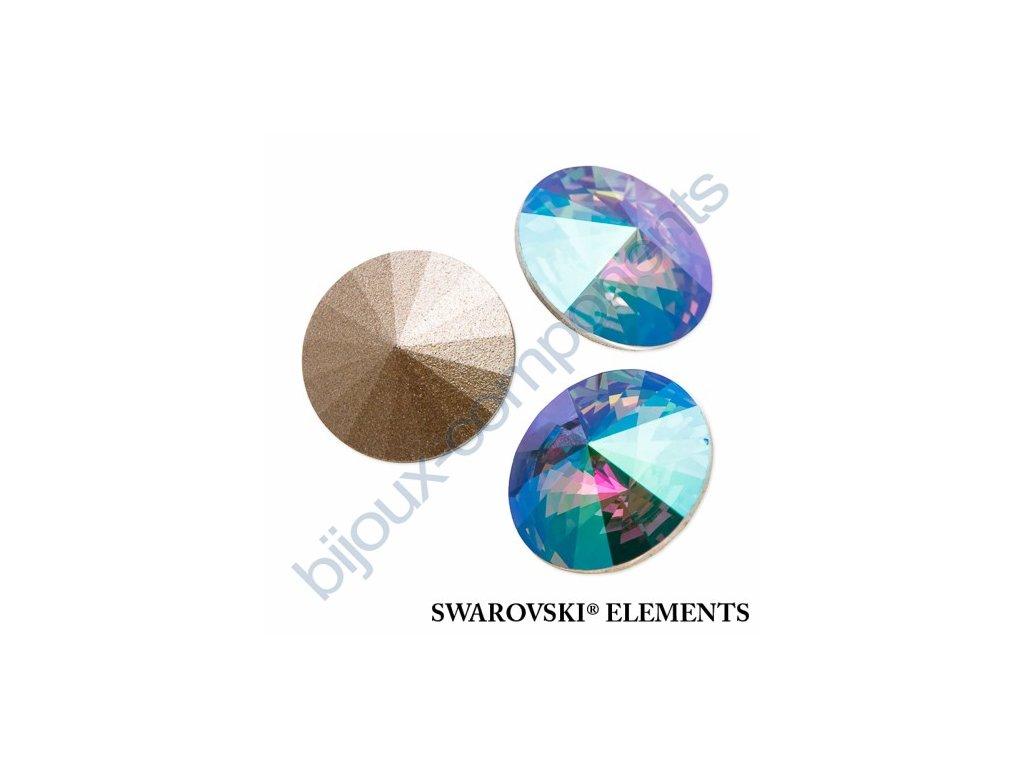 SWAROVSKI ELEMENTS kameny - Rivoli Chaton, crystal paradise shine, 12mm