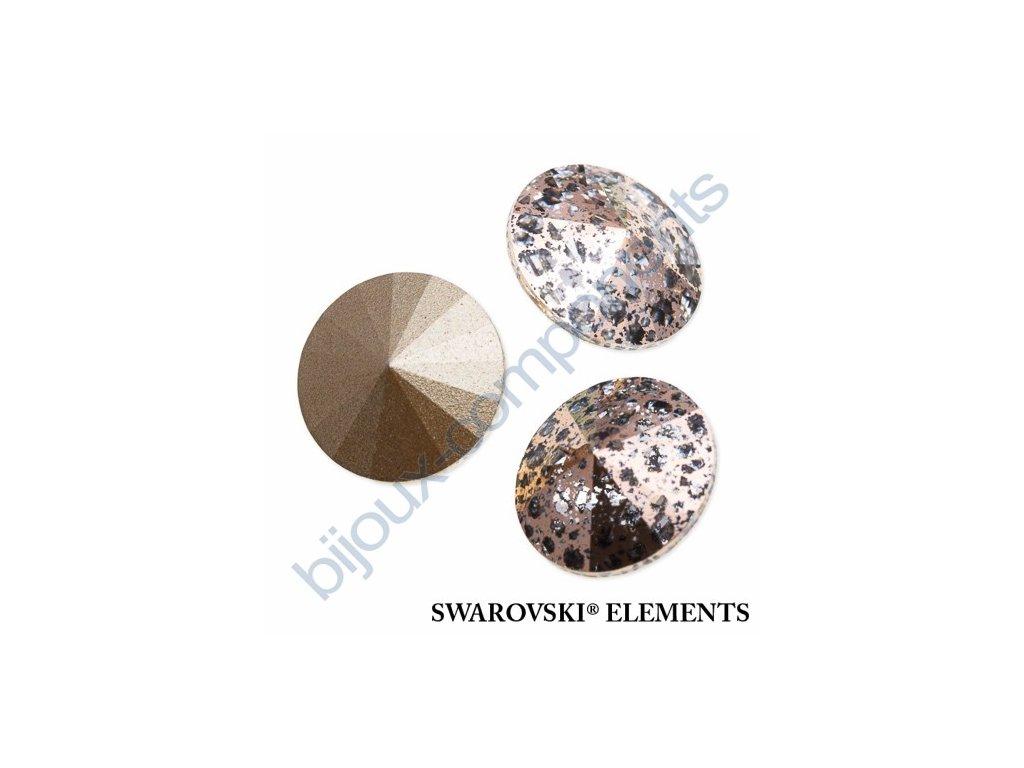 SWAROVSKI ELEMENTS kameny - Rivoli Chaton, crystal rose patina, 12mm