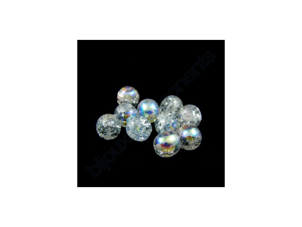 Skleněné práskané korálky - krystal AB, cca 8mm