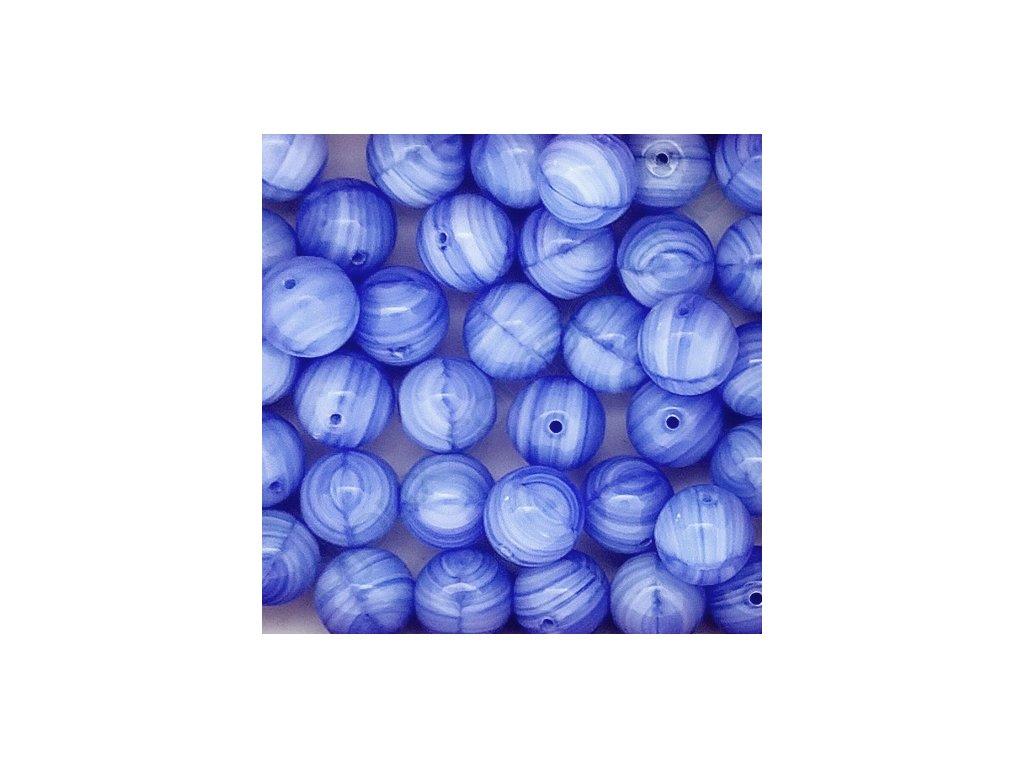 Skleněné korálky - modré žíhané