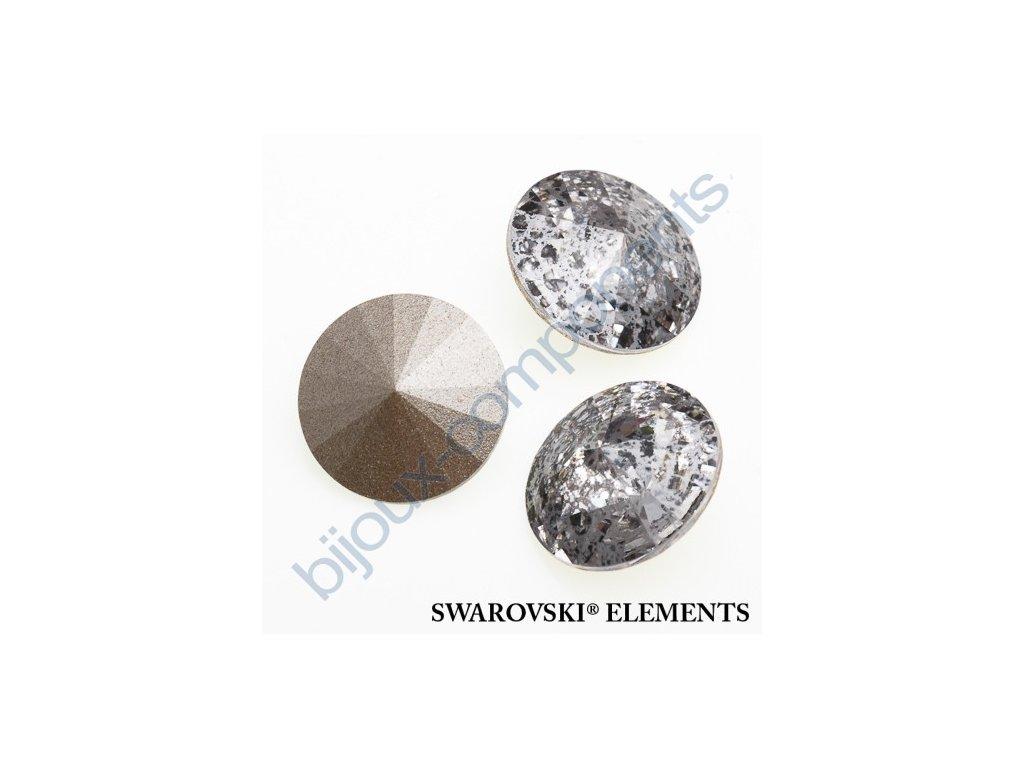 SWAROVSKI ELEMENTS kameny - Rivoli Chaton, crystal silver patina, 12mm