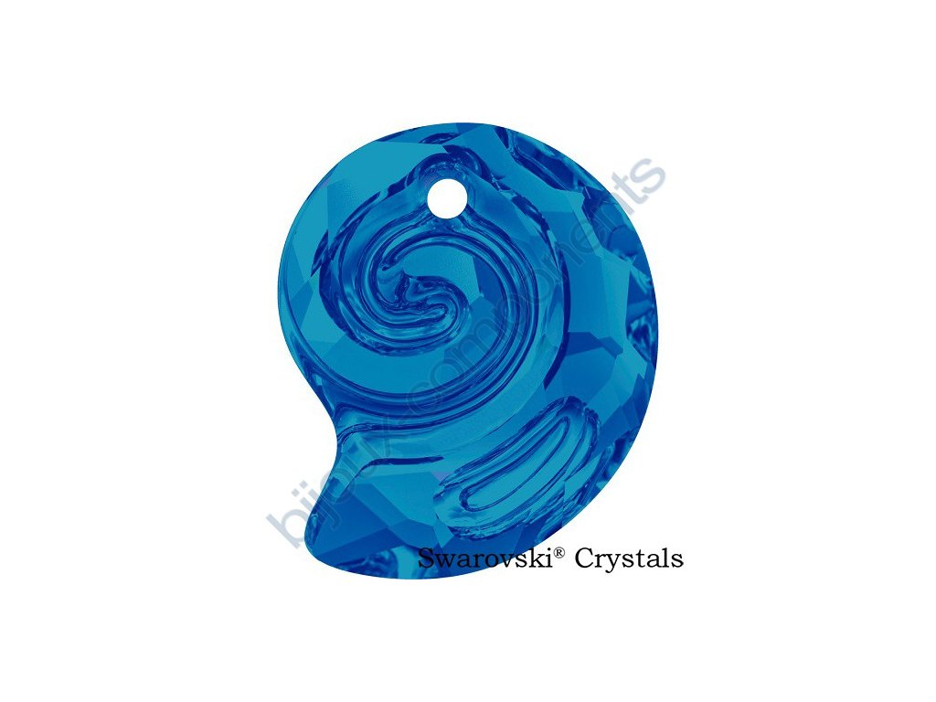 SWAROVSKI CRYSTALS přívěsek - Sea Snail, crystal bermuda blue, 14mm