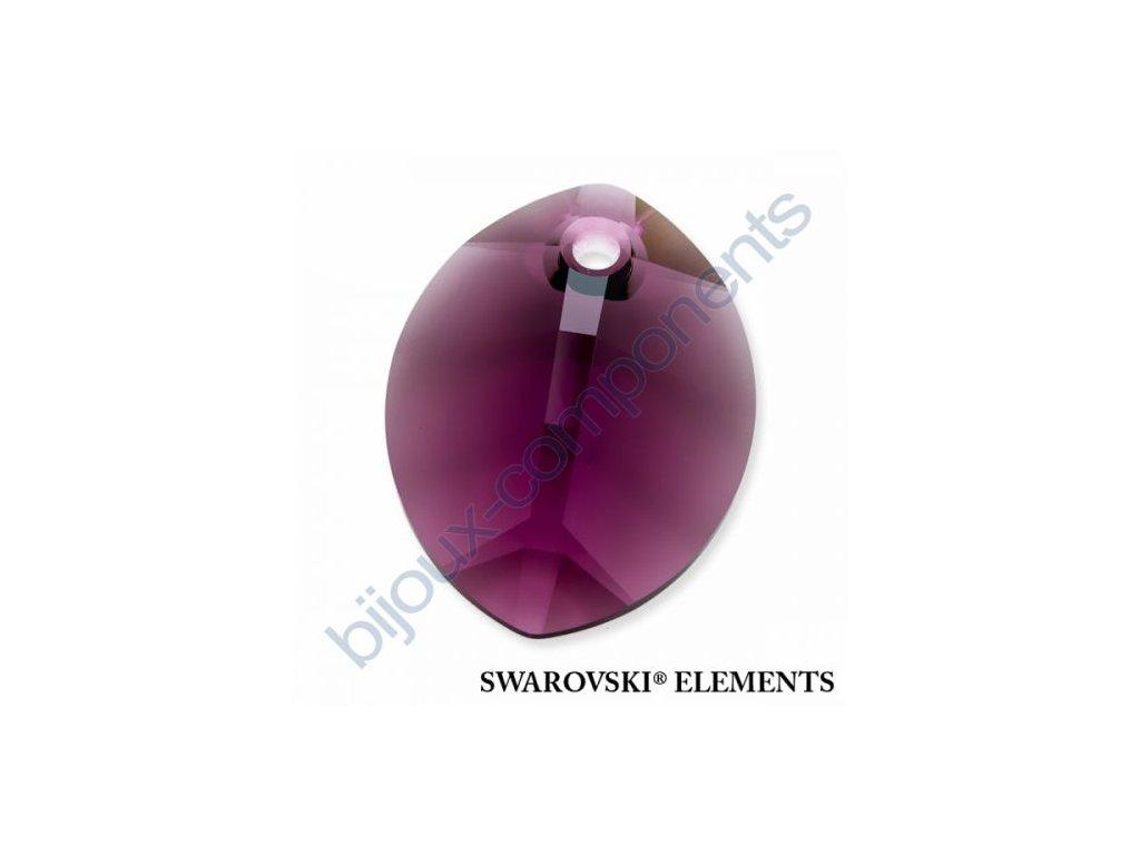 SWAROVSKI ELEMENTS přívěsek - pure leaf, amethyst, 14mm