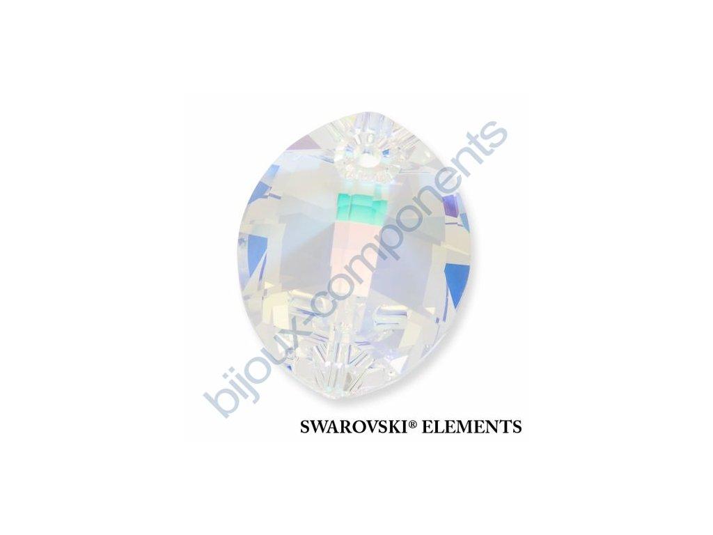 SWAROVSKI ELEMENTS přívěsek - pure leaf, crystal AB, 14mm
