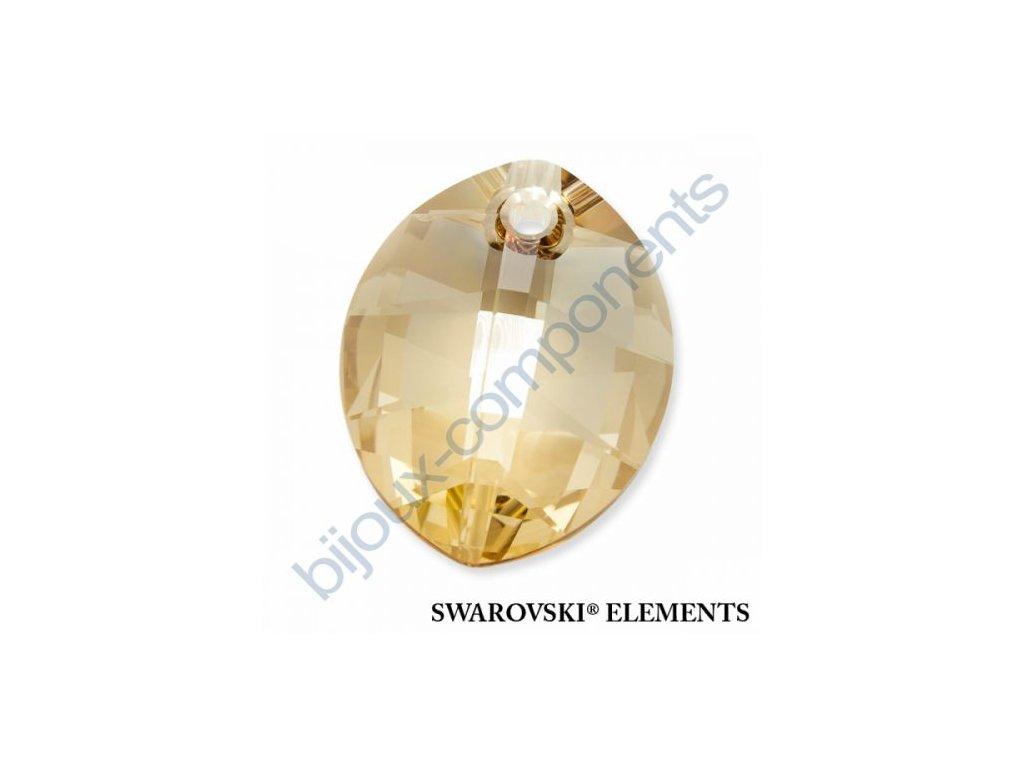 SWAROVSKI ELEMENTS přívěsek - pure leaf, crystal golden shadow, 14mm