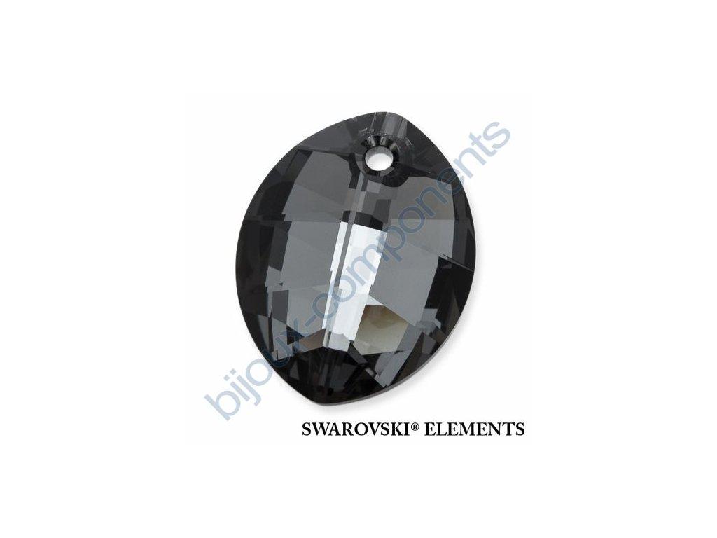 SWAROVSKI ELEMENTS přívěsek - pure leaf, crystal silver night, 14mm