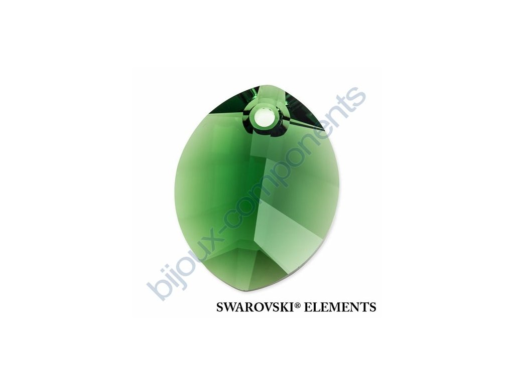 SWAROVSKI ELEMENTS přívěsek - pure leaf, dark moss green, 14mm