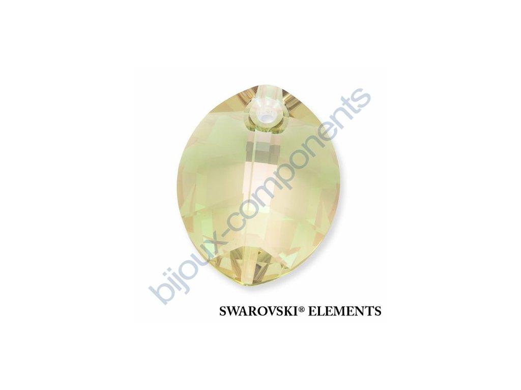 SWAROVSKI ELEMENTS přívěsek - pure leaf, crystal lumin green, 14mm