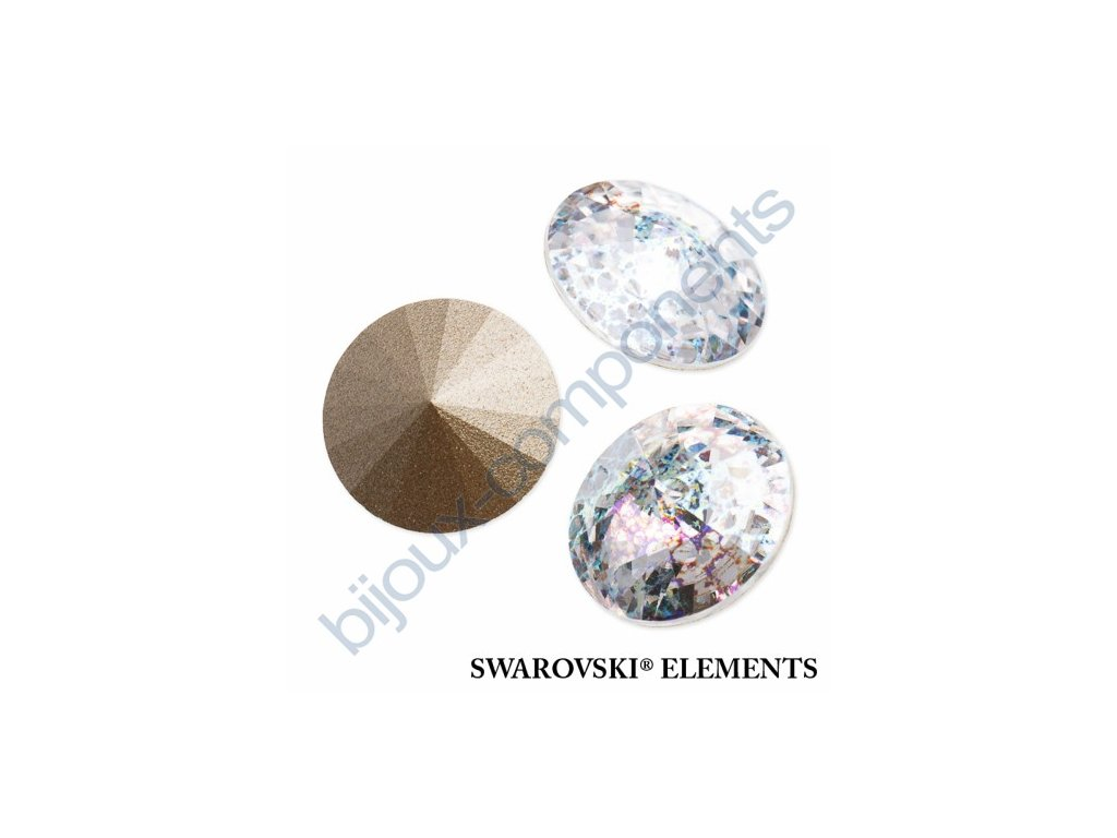 SWAROVSKI ELEMENTS kameny - Rivoli Chaton, crystal white patina, 12mm
