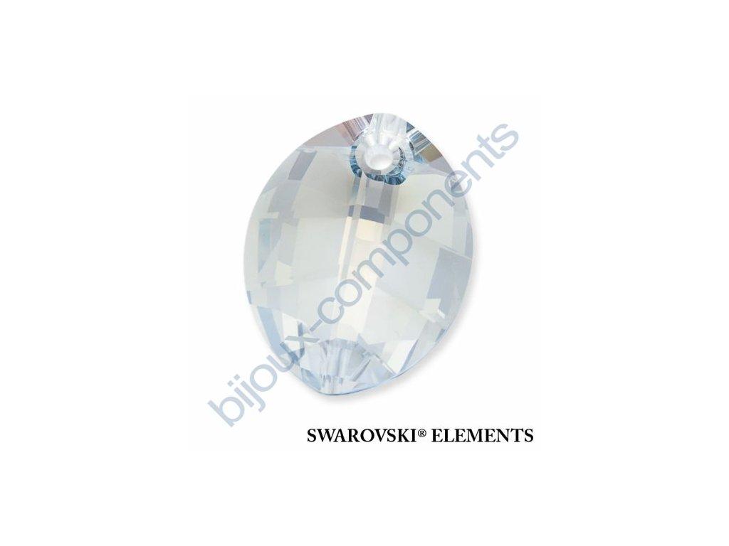 SWAROVSKI ELEMENTS přívěsek - pure leaf, crystal blue shade, 23mm