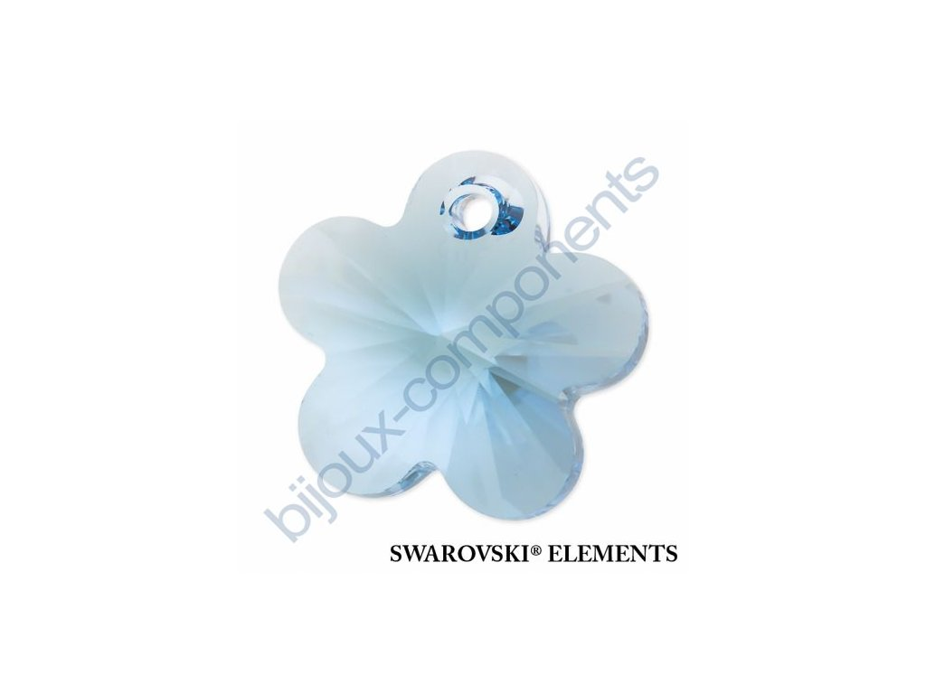 SWAROVSKI ELEMENTS přívěsek - kytička, aquamarine, 14mm