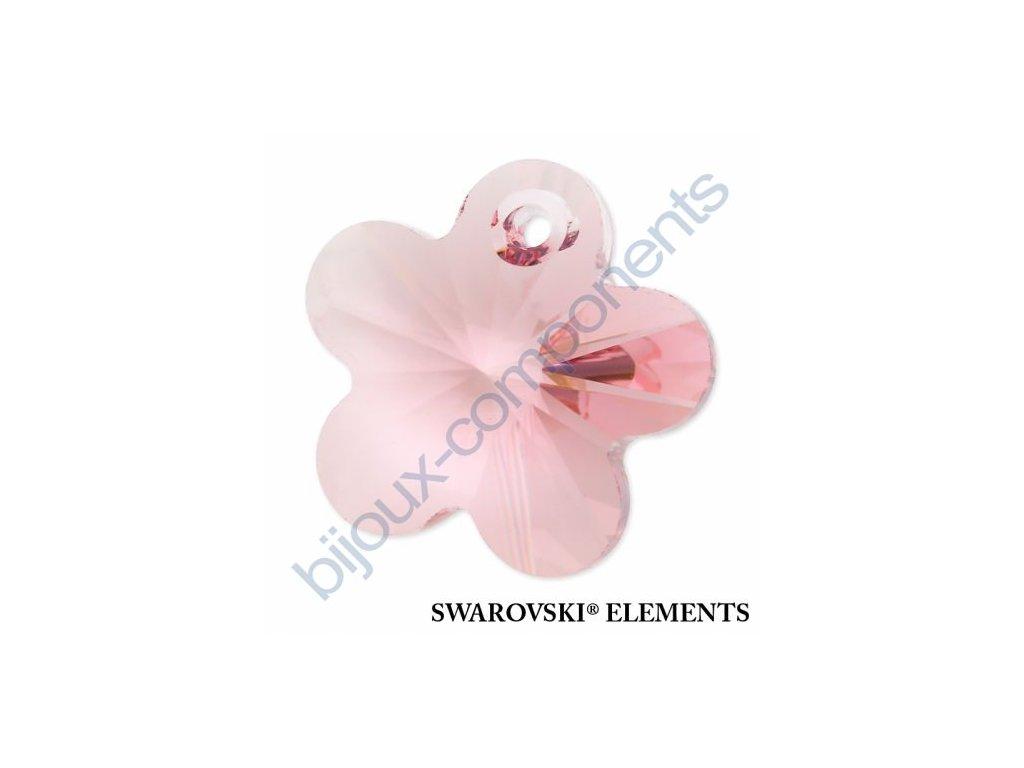 SWAROVSKI ELEMENTS přívěsek - kytička, light rose, 14mm