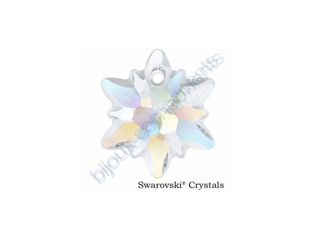 SWAROVSKI CRYSTALS přívěsek - Edelweiss, crystal AB - matovaný okraj, 18mm
