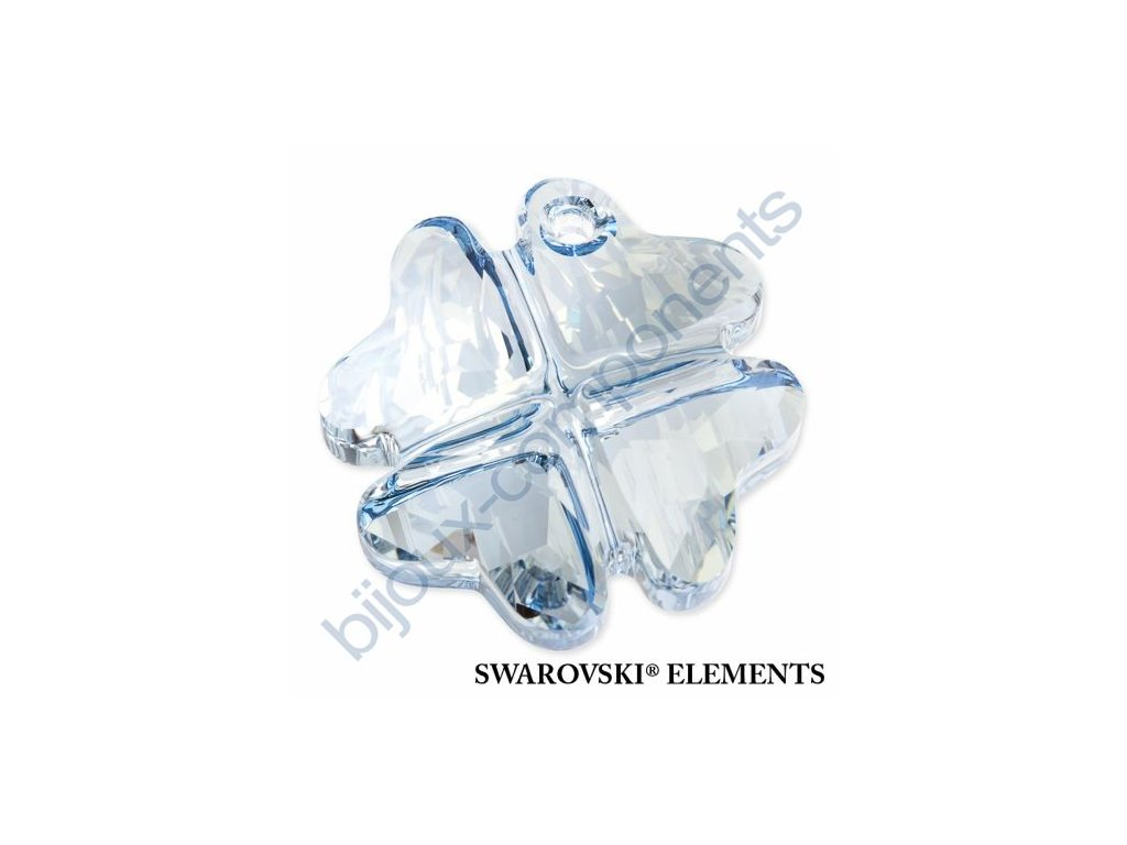 SWAROVSKI ELEMENTS přívěsek - Čtyřlístek, crystal blue shade, 19mm