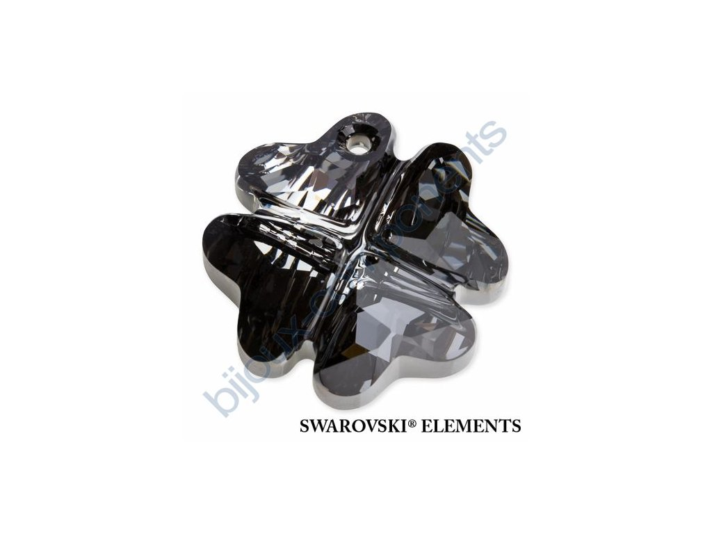SWAROVSKI ELEMENTS přívěsek - Čtyřlístek, crystal silver night, 19mm