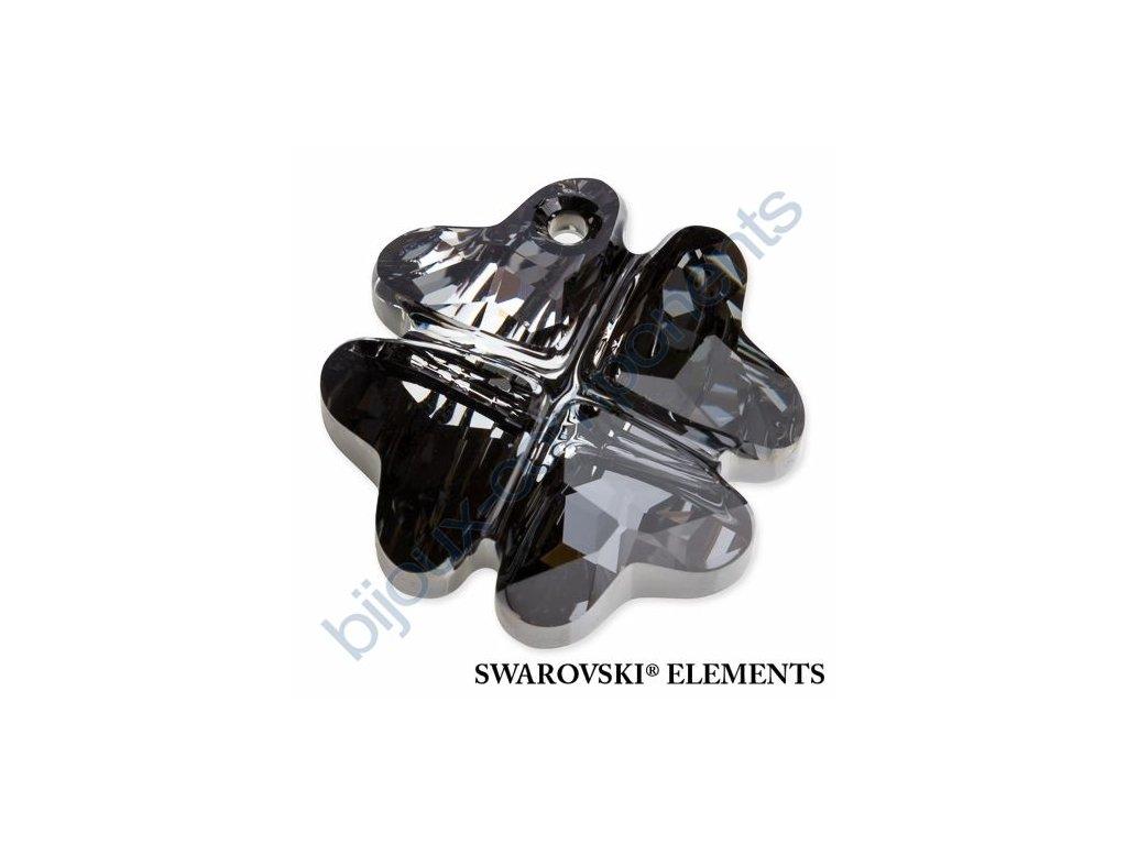 SWAROVSKI ELEMENTS přívěsek - Čtyřlístek, crystal silver night, 28mm