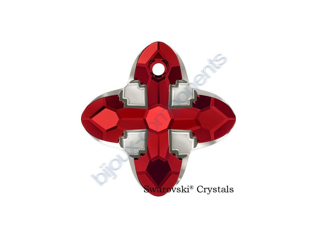 SWAROVSKI CRYSTALS přívěsek - Cross Tribe, light siam / metallic light gold, 14mm