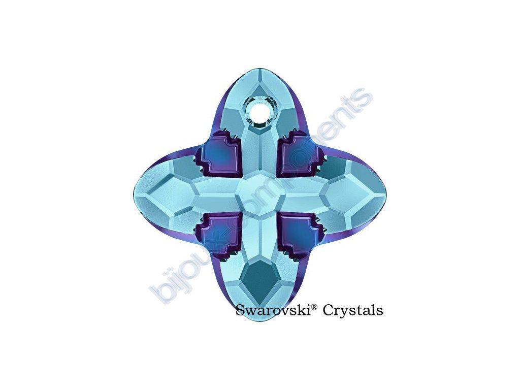 SWAROVSKI CRYSTALS přívěsek - Cross Tribe, aquamarine / metallic blue, 24mm