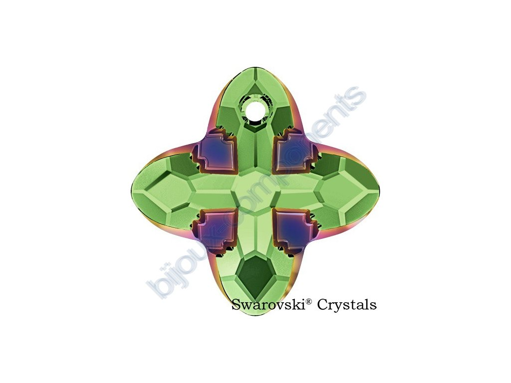 SWAROVSKI CRYSTALS přívěsek - Cross Tribe, peridot / scarabeus green, 24mm