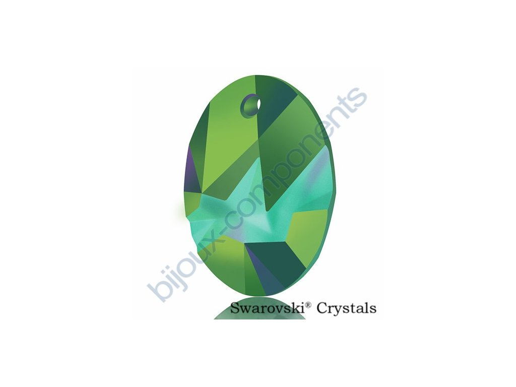 SWAROVSKI CRYSTALS přívěsek - Kaputt Oval, crystal scarabeus green, 26mm