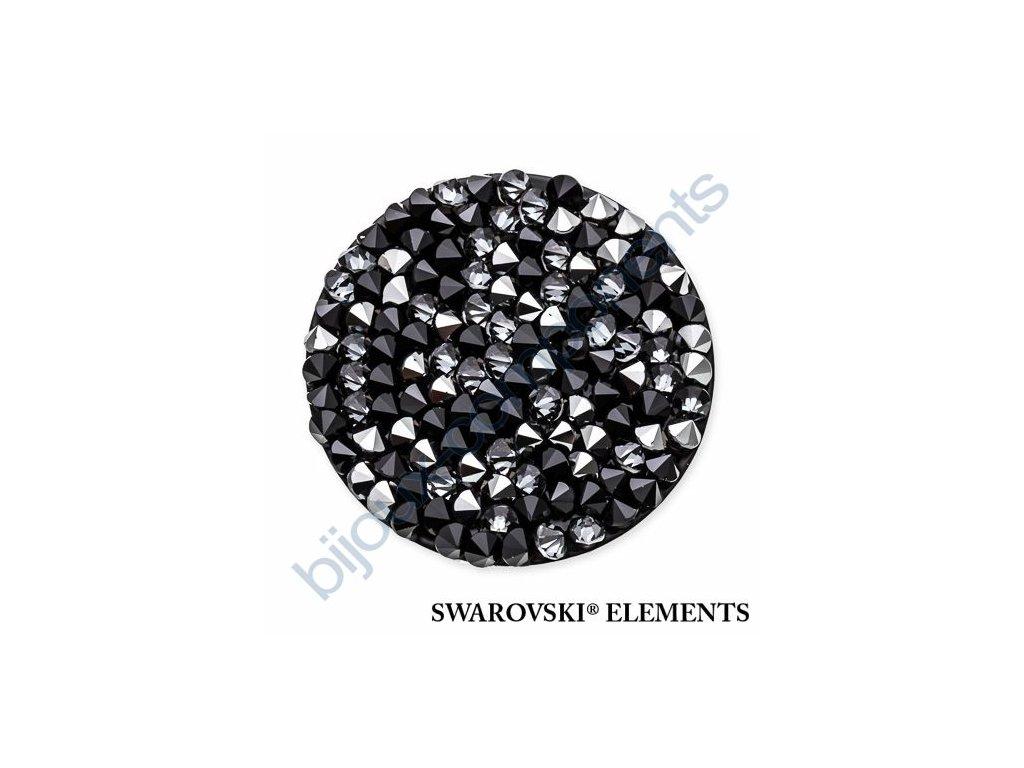 SWAROVSKI ELEMENTS - Crystal rocks, černý, jet a crystal metalic silver, 30mm