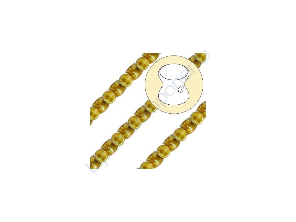 Skleněné korálky mačkané - přesýpací hodiny, bílá/travertin