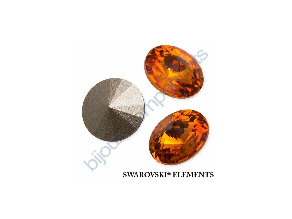 SWAROVSKI ELEMENTS kameny - Rivoli Chaton, tangerine, 12mm