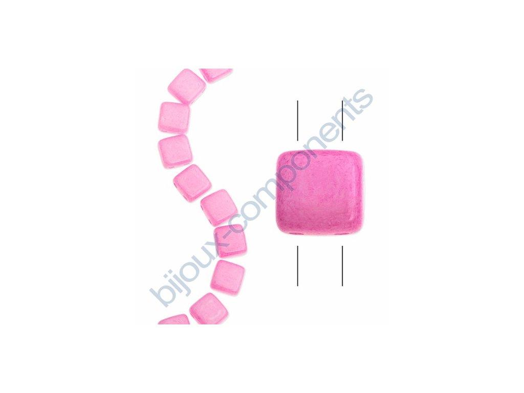Skleněné korálky mačkané - dvoudírkové čtverečky styl Tile, růžové