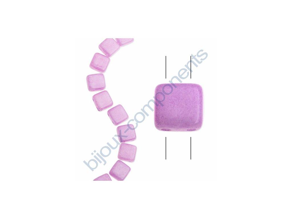 Skleněné korálky mačkané - dvoudírkové čtverečky styl Tile, fialové