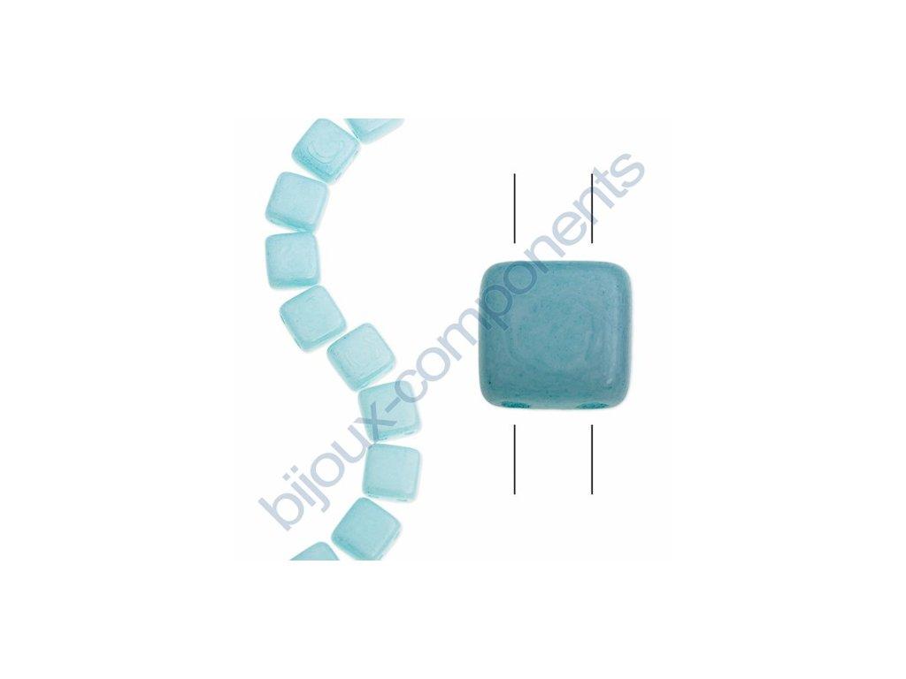 Skleněné korálky mačkané - dvoudírkové čtverečky styl Tile, tyrkysové